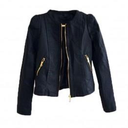 Slim Short Design Turn Down Collar Motorcycle Outwear