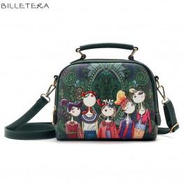 Cartoon Image Printing Leather Bag with shoulder strap