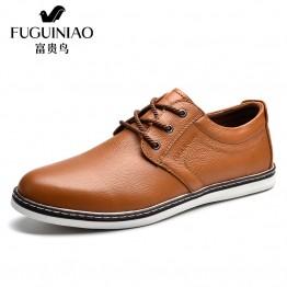FUGUINIAO High Quality Genuine Leather Men Shoes