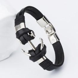 Fashionable Charm Leather Anchor Men's Bracelets