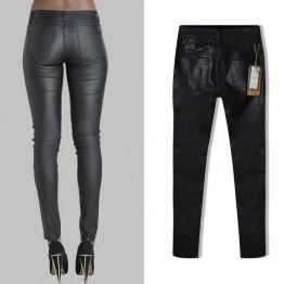 Women's Fashion Low Waist Trousers Slim Skinny Zipper Leather Pants