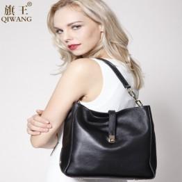 Black Soft Genuine Leather Gold Logo Brand Handbag for Women