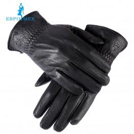 Genuine Leather, winter men's gloves black and Warm