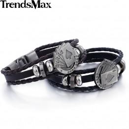 Men and Women's Leather Bracelet Strands Rope