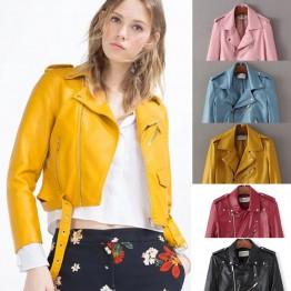Women's Short Faux Leather Jacket Zipper in Bright Colours