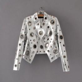 New women's leather jacket long sleeve