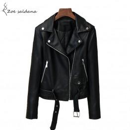 Leather Jacket Women Moto Biker Zip Belt Coats
